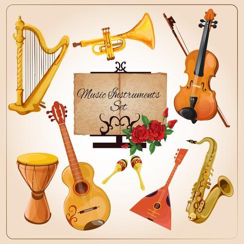 Muziekinstrumenten kleur vector