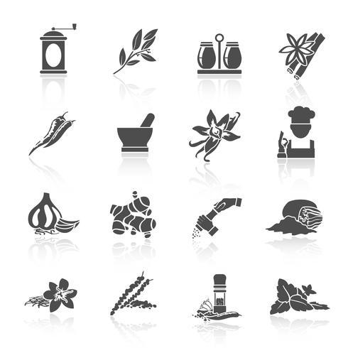 Specerijen pictogrammen zwart vector