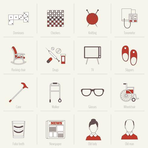 Gepensioneerden Life Icons Flat Line vector