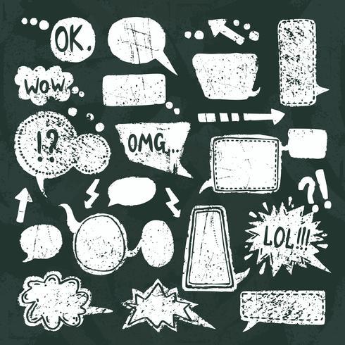 Bubble spraak pictogrammen instellen schoolbord vector