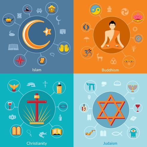 Religies zijn plat ingesteld vector