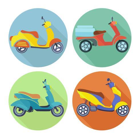 Scooter pictogram platte set vector