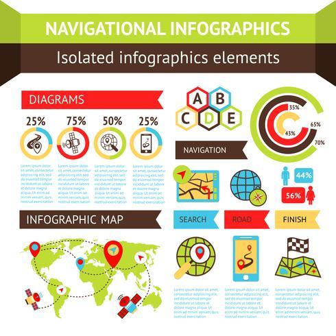 Navigatie infographics instellen vector