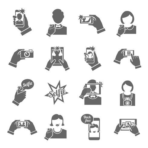 Selfie pictogrammen zwart vector