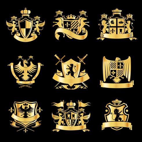 Heraldische gouden emblemen vector