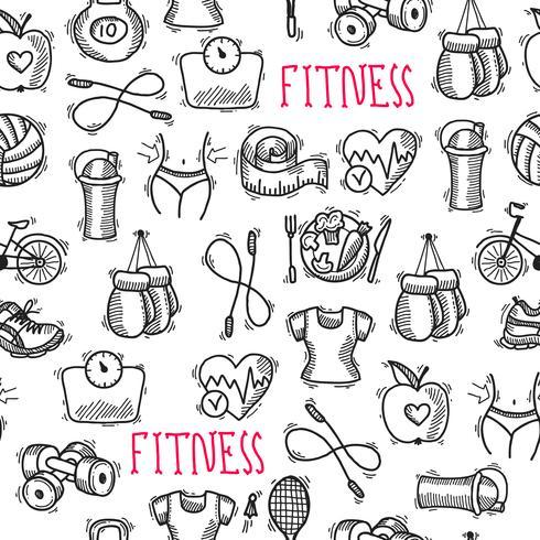 Fitness schets zwart en wit naadloze patroon vector