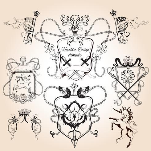 Heraldische ontwerpelementen vector