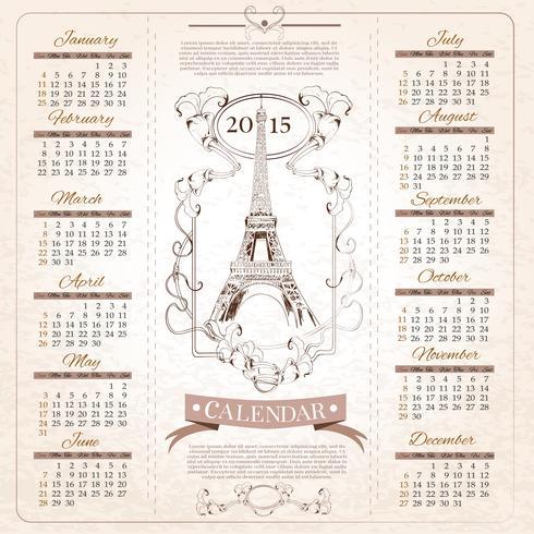 Retro kalender voor 2015 vector