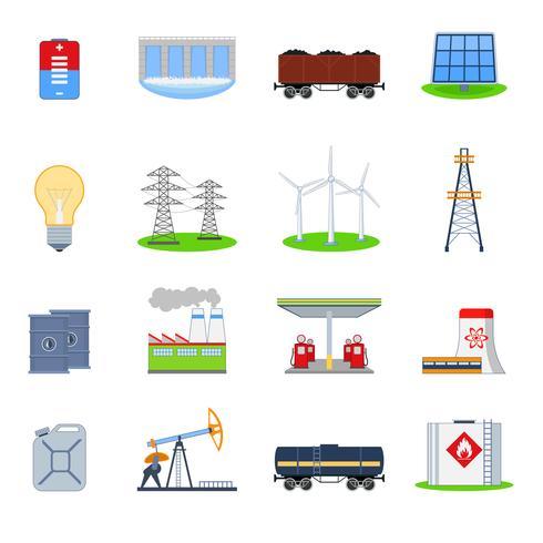 Energie pictogrammen instellen vector