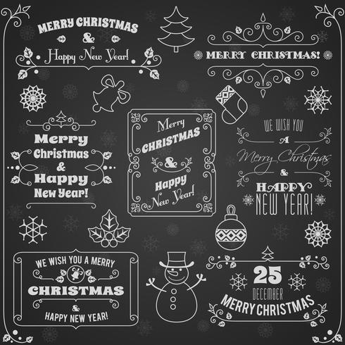 Kerst etiketten schoolbord set vector
