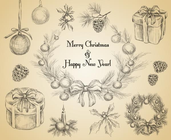 Kerstdecoratie schets vector
