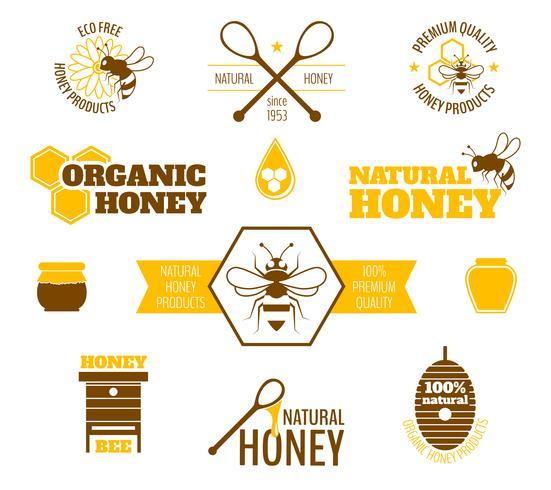 Bee honing label gekleurd vector