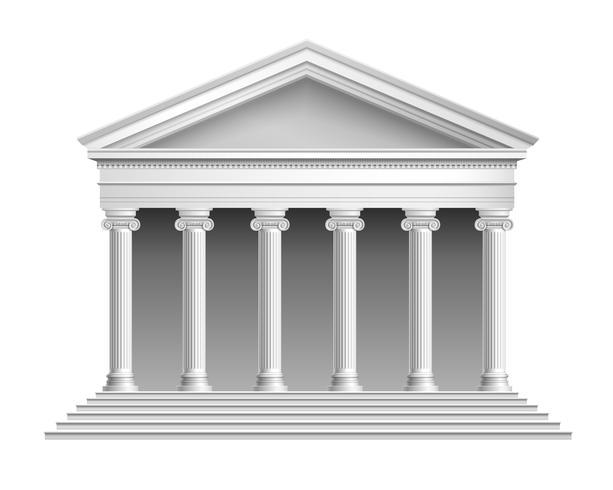 Tempel met zuilengalerij vector