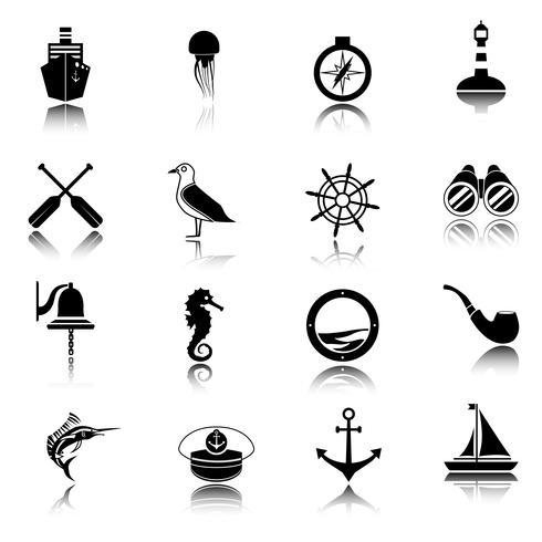 Nautische pictogrammen instellen zwart vector