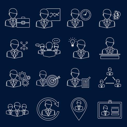 Business en management pictogrammen schetsen vector