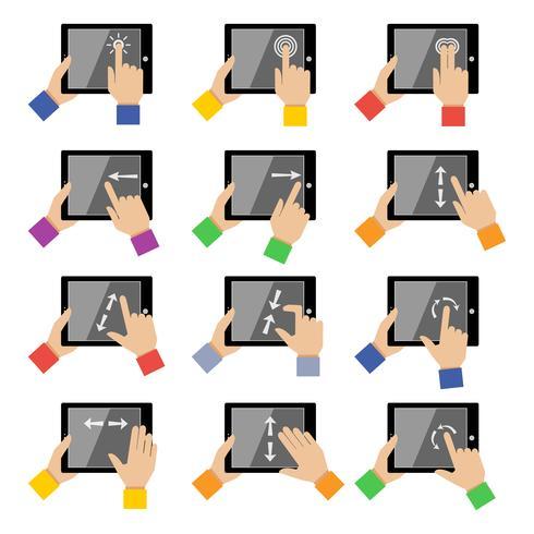 Touch-bewegingen voor tablets vector