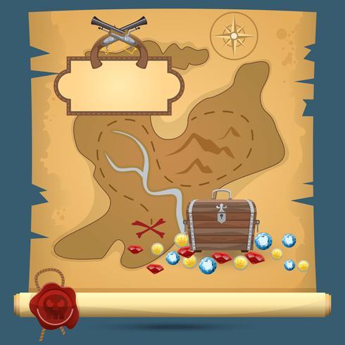 Piraten schatkaart vector