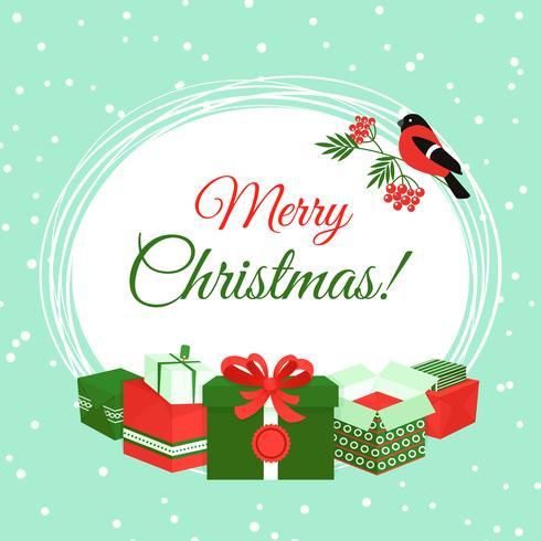 Kerstkaart met geschenkdozen vector