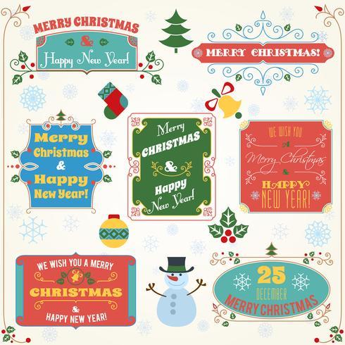 Kerst labels gekleurde set vector