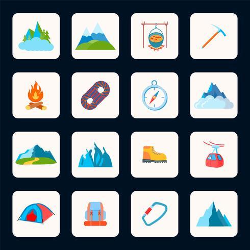 Berg pictogrammen plat vector