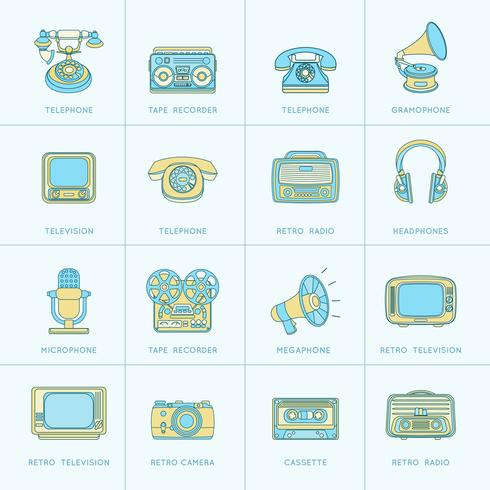 Retro Media Flat Line-pictogrammen vector