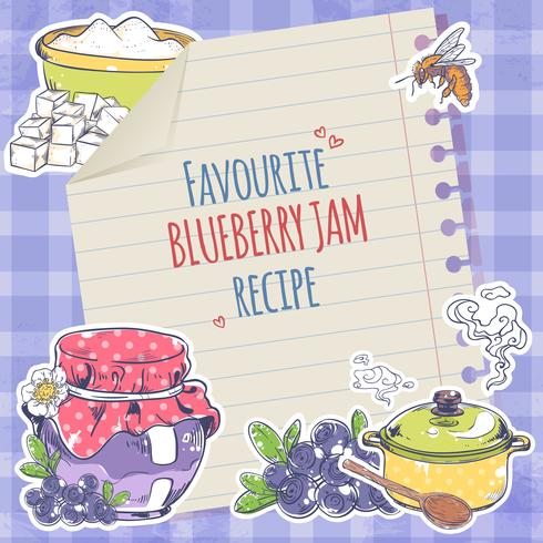 Blueberry jamaffiche vector