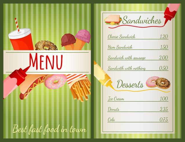 Fastfood-menu vector