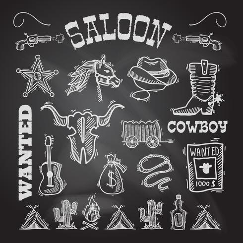 Cowboy schoolbord set vector