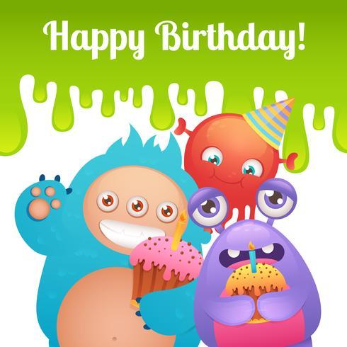 Verjaardag monsters kaart vector