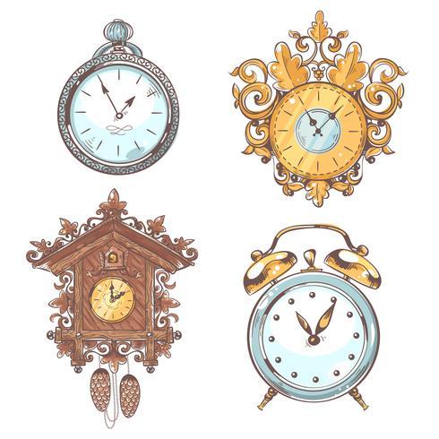 Oude vintage klok ingesteld vector