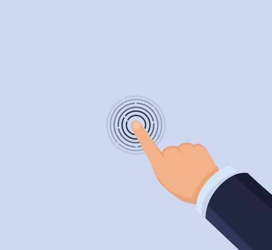 Hand touchscreen vector
