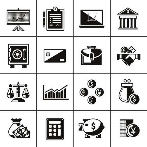 Financiën pictogrammen instellen zwart vector