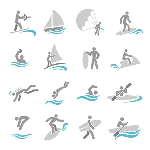 Watersport icons set vector