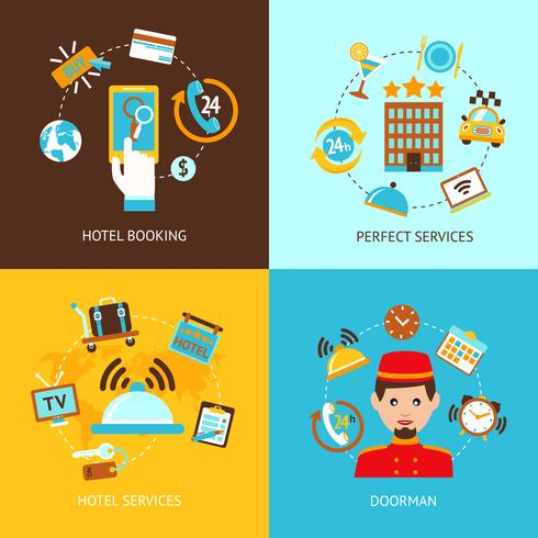 Hotel pictogrammen platte set vector
