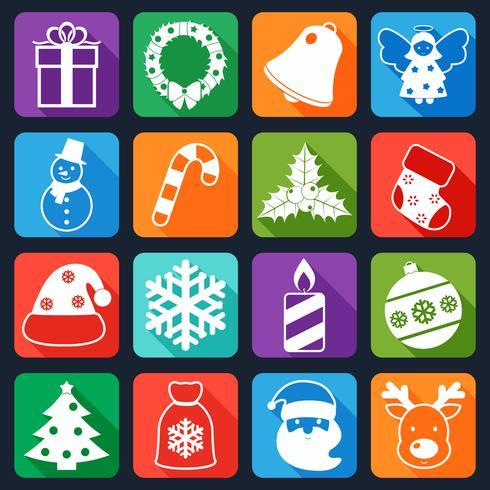 Kerst iconen instellen plat vector