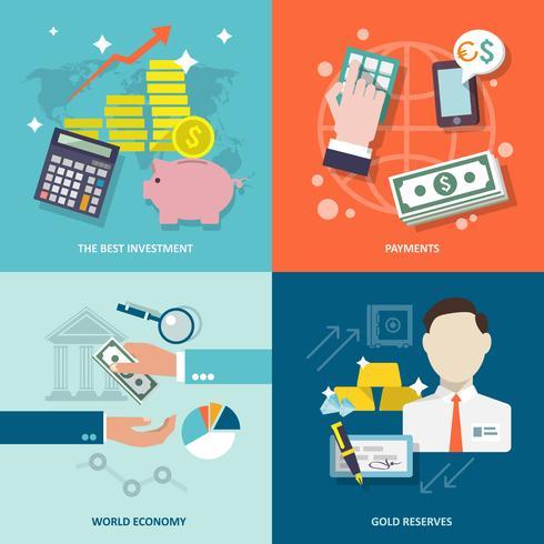 Bankdienst pictogrammen platte set vector