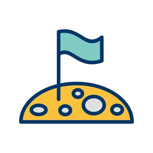 Vlag bij maan vector pictogram