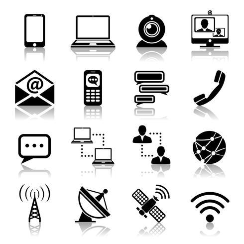 Communicatie pictogram zwarte reeks vector
