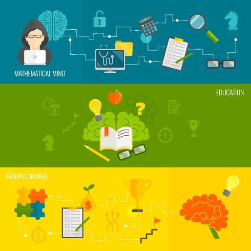 Hersenen banner set vector