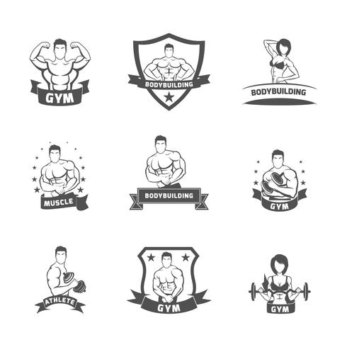 Bodybuilding fitness gym etiket zwart vector