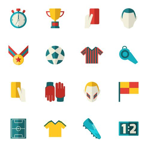 Voetbal pictogrammen plat vector