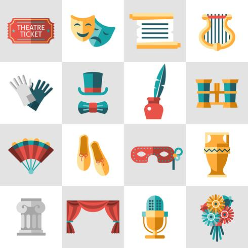Theater pictogram plat vector
