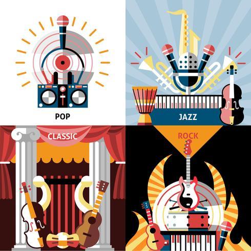Muziekinstrumenten platte set vector
