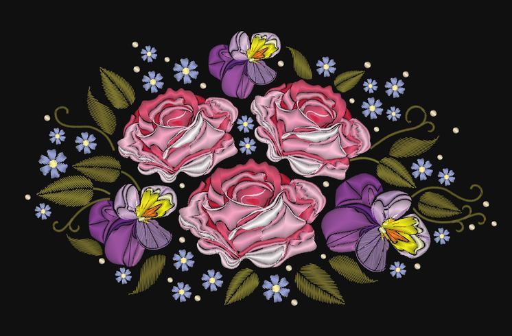 Bloemenrozen en pansies op zwarte achtergrond worden geïsoleerd die. Vector illustratie. Borduursel voor patches, badges, stickers, wenskaarten, patronen, t-shirts.