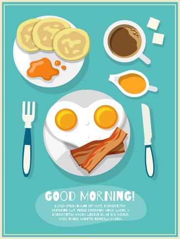 Ontbijt pictogram poster vector