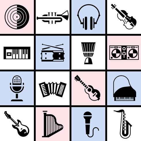 Muziekinstrumenten zwarte reeks vector
