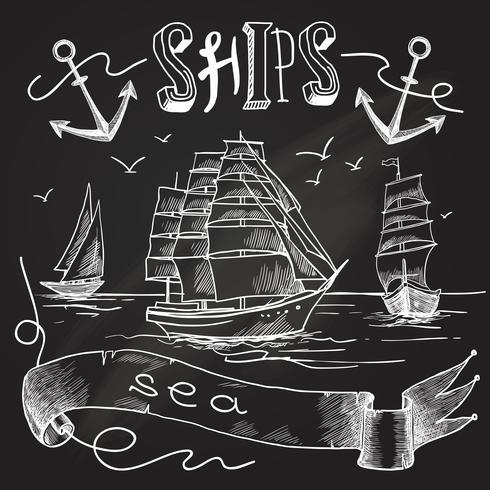 Schip schoolbord poster vector