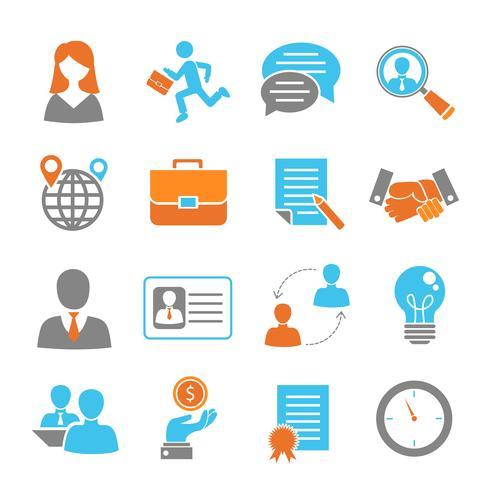 Job interview gekleurde set vector