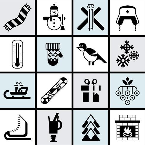 Winter pictogrammen instellen zwart vector