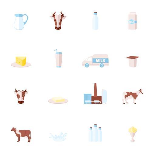 Melk plat pictogrammen instellen vector